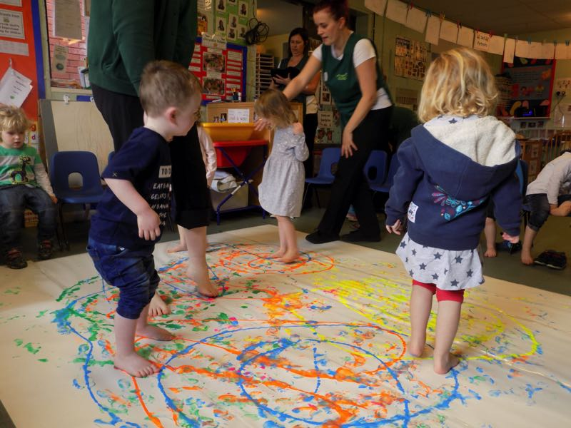 Painting With Our Feet Chrysalis Day Nursery
